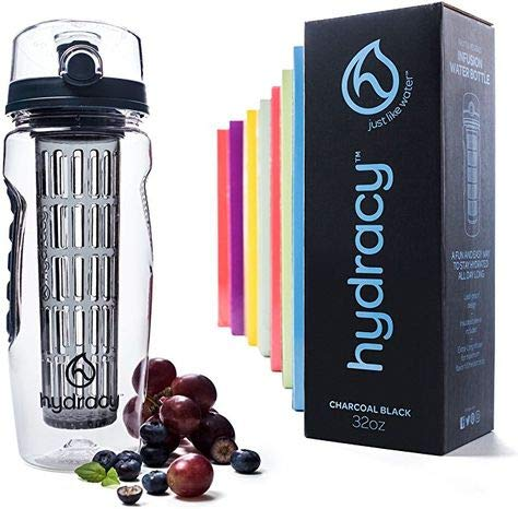 Toytle PVC Infuser Water Bottle with Infusion Rod, Time Mark, Sleeve Combo with Recipes eBook, 1000ml, Sport Bottle with Full Length Infusion Rod, Time Mark and Sleeve Combo Set, Black