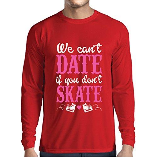 Lange mouwen heren t-shirts geen skate, geen datum - cool citaat cadeau, grappige dating citaten