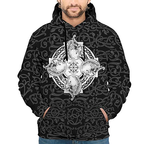 BOBONC Viking Tattoo Printed heren dames sweatshirts lange mouwen gym slim fit pullover trui met zakken S-5XL wit XXL