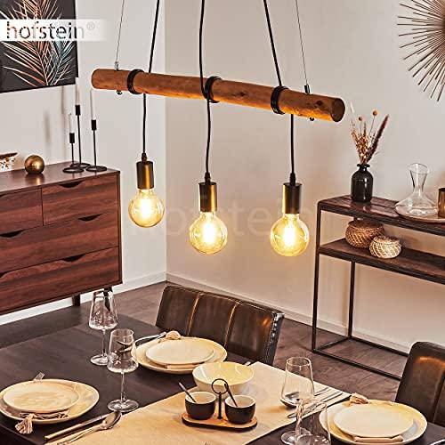 Suspension Seegaard en bois clair et métal noir, 3 lampes pendantes vintages idéal au dessus d'une table de salle à manger rétro, pour 3 ampoules E27 max. 60 Watt, compatibles ampoules LED
