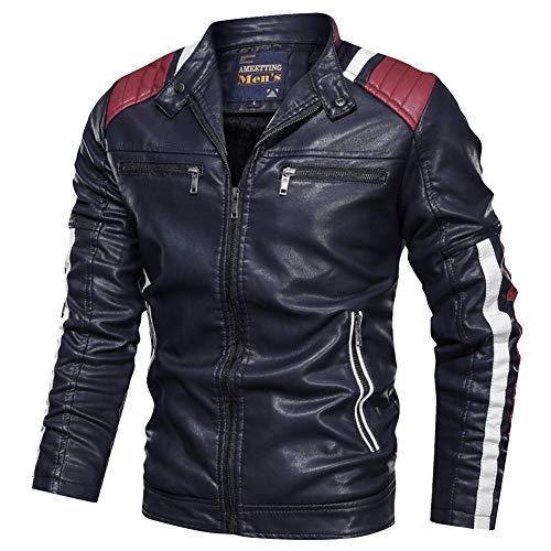 YAOTT Hombre Casual Matching Chaqueta de cuero PU Collar del soporte Ajustado Chaqueta de motociclista clásica Punk con cremalleras
