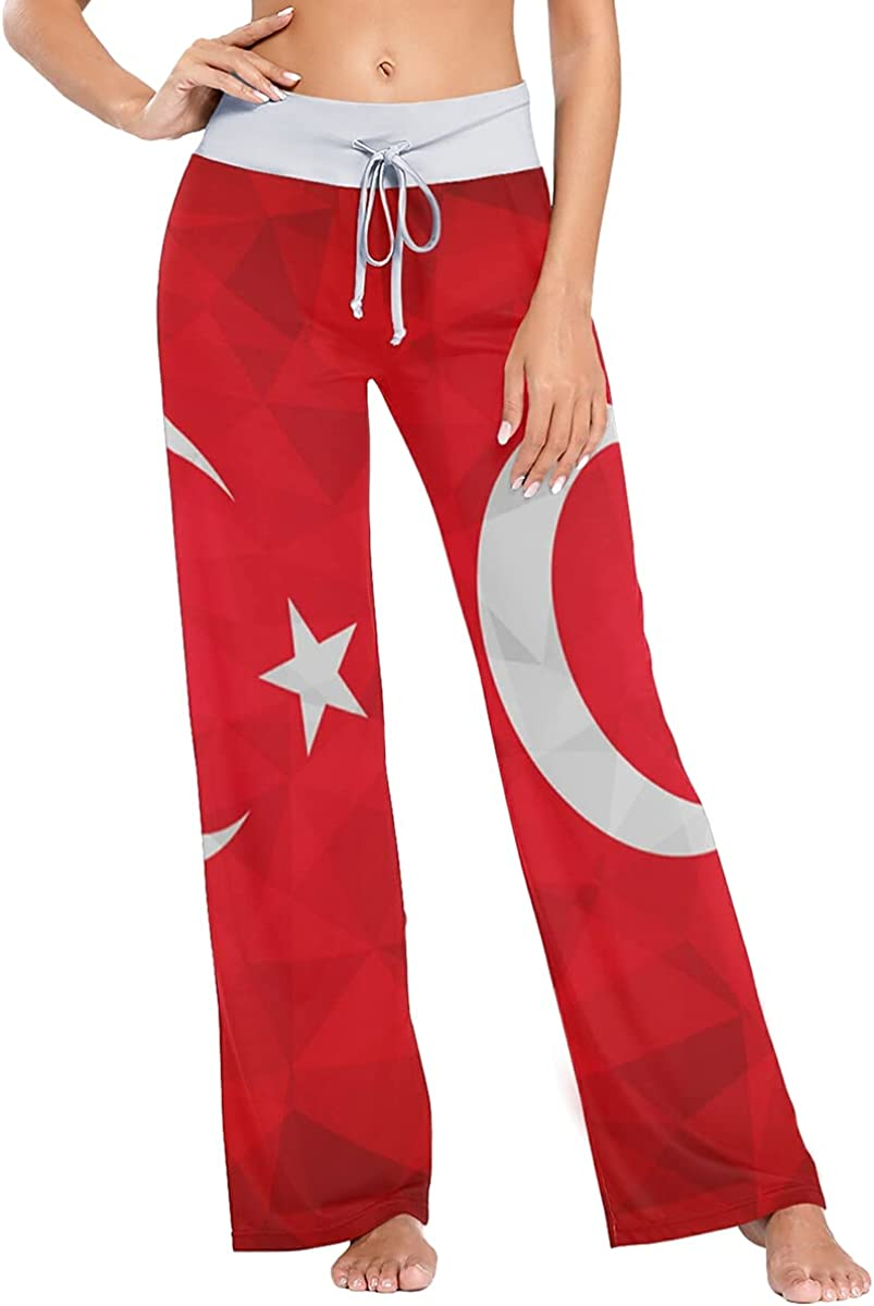 AUISS Women Pajamas Turkey Flag Pants Sleepwear Sweatpants Long