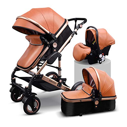 Babyfond Travel System Anti-Shock Luxury Baby Stroller 3 in 1,Convertible Bassinet to Toddler Stroller,Reinforced Frame for Safety,Vista Pram,Quick Fold Baby Carriage (Brown PU)