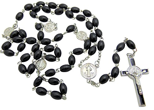 AT001 St. Benedict Oval Catholic Wood Rosary for Men, Black