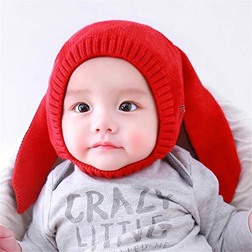 Nuevo Gorro de bebé bebé cálido más Gorro de Lana Esponjoso Engrosamiento de la Oreja código Rojo (6-18 Meses)