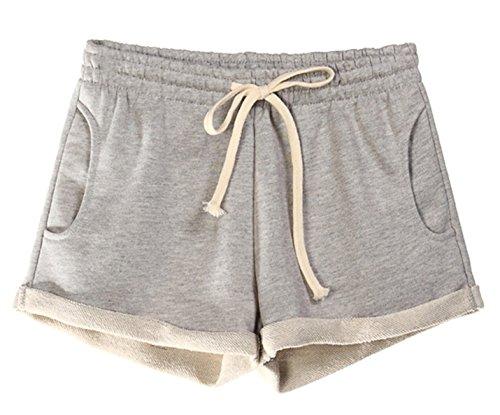 Yimoon Women's Casual Summer Elastic Waist Running Workout Yoga Shorts Sports Fitness Short Pants with Drawstring (Light Grey, Large)