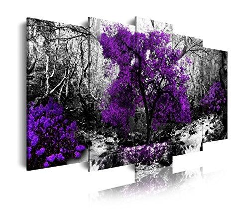 DekoArte 289 - Cuadros Modernos Impresión de Imagen Artística Digitalizada | Lienzo Decorativo Para Salón o Dormitorio | Estilo Naturaleza Blanco y Negro Árboles Morados Violetas | 5 Piezas 150x80cm