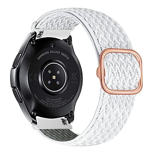 iBazal 22mm Correa Galaxy Watch 46mm Pulsera Nylon Banda Trenzada Lazo Loop Repuesto para Samsung Galaxy Watch 3 45mm/Gear S3 Frontier Classic, Huawei Watch GT/GT 2 46mm Woven Sport Band - Concha