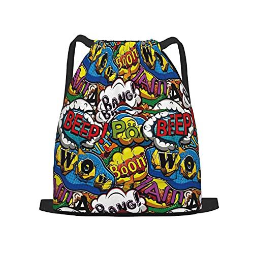 USOPHIA Mochila con cordón,Comics Speech Bubbles Beep Wow con vívidos ef, Gym Sackpack para Hombres Mujeres Niños Yoga Travel Camping String Bag.