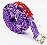 Riarbronee - Correa de yoga (3 m, algodón resistente, ajustable), Morado claro.