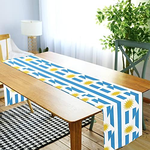 LORDWEY Camino de mesa de la bandera de Uruguay, mantel antideslizante resistente al calor, para mesa de comedor, fiesta, 35,5 x 274,3 cm