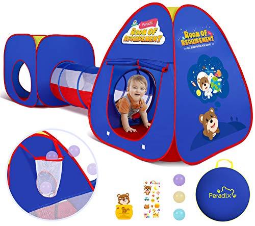 Peradix Tienda de Campaña Infantil con Tunel para Niños, Pop Up Tienda de Juegos Plegable con Casita Infantil,Tiendas de Campaña para Niños,Jugar Tienda para Interiores/Exteriores Playhouse(Azul)