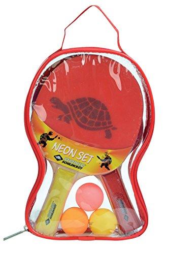 Donic-Schildkröt Tischtennis-Set Neon, 2 Schläger mit bunten Belägen, 3 bunte Bälle, in Tragetasche, 788695