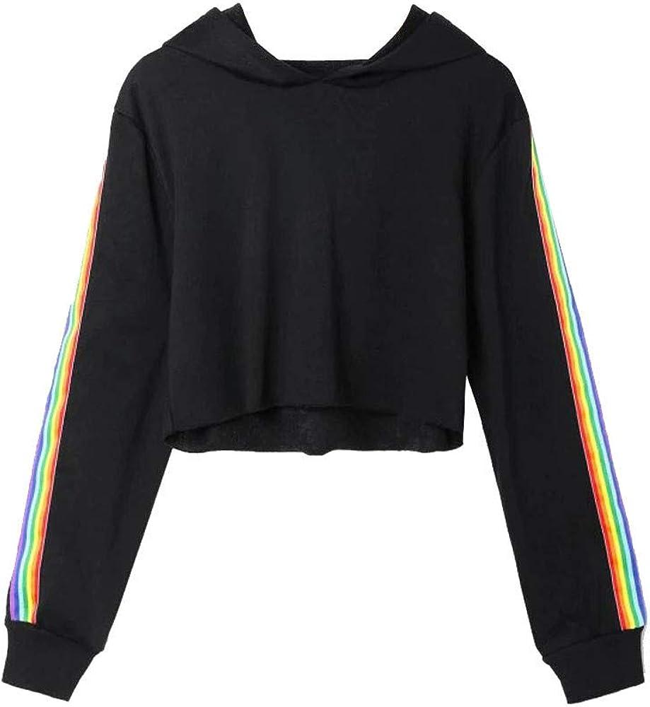 Zulmaliu Girl Sweatshirt, Fashion Striped Print Long Sleeve Crop Top Hoodies (Black 9,S)