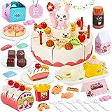 HERSITY Geburtstagstorte Spielküche Zubehör Kinderküche Lebensmittel Spielzeug Kuchen Spielset Küchenspielzeug Rollenspiel Geschenk für Kinder, 85 Stück