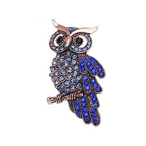 Ailan Crystal Owl Broche Scarf Clip Pin Pin Broches Mujeres Suéter Sombreros Hebillas