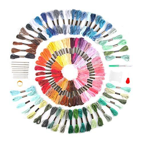 Hilos Punto de Cruz,moinkerin 100 Colores Hilos de Bordar Punto de Cruz Kit Bordado Para Bordados, Artesanía de Arte de Bricolaje, Tejido, Proyecto de Punto de Cruz