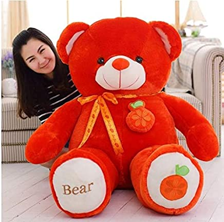 Frantic Soft Plush Fabric Teddy Bear with Neck Ribbon (Red - OrangeFruit) 3 Feet