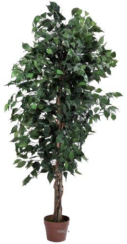 Artif-deco - Ficus artificiel 180 cm vert 1512 feuilles tronc nat - choisissez votre dimension: 180 cm vert