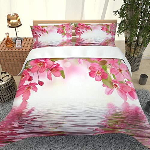 AOJHG Duvet Cover Set Red Peach Pattern 3 Pieces Single 180X220Cm With 2 Pillowcases 50X75Cm Bedding Quilt Cover. Easy Care And Super Soft Microfiber Design Zipper Closure