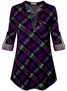 Bulotus Business Casual Tops for Women Work Blouses for Office 3/4 Sleeve Shirts Plaid Black Purple XXX-Large