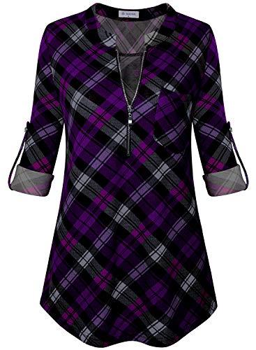 Bulotus Damen 3/4 Arm V-Ausschnitt Casual Plaid Tunika Shirt - Plaid schwarz lila, size: X-Groß