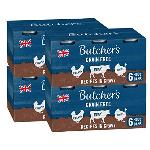 BUTCHER'S Grain Free Recipes in Gravy Wet Dog Food Tin Cans Variety pack, 9.6kg (24 x 400g)