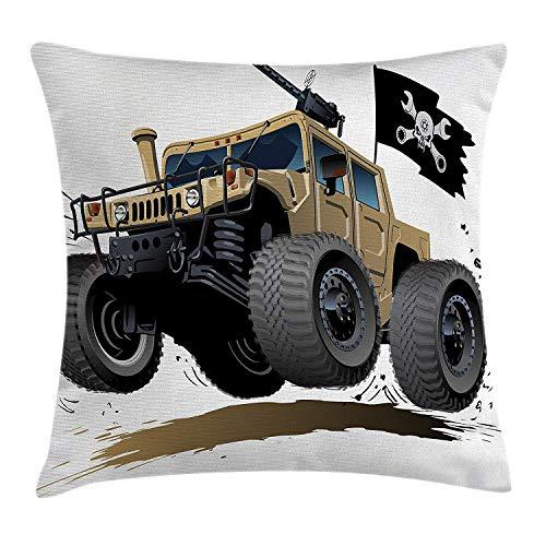 Butlerame Cars Decor Throw Pillow Cover, Todoterreno Famoso Safari Rally Truck con diseño de Bandera Pirata de Calavera, 18 x 18 Pulgadas, Gris marrón