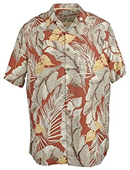 Caribbean Floral Print Short Sleeve Woven Shirt S75WC454 Dark Coral  L