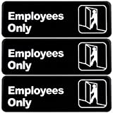 Employees Only Sign: Easy to Mount Informative Plastic Sign with Symbols 9'x3', Pack of 3 (Black)