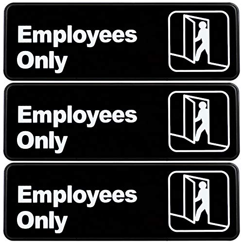 Employees Only Sign: Easy to Mount Informative Plastic Sign with Symbols 9x3, Pack of 3 (Black)