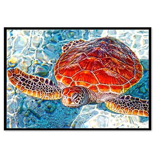 Full Diamond Painting Kit For Adults - Sea Life Series 5D Diy Diamond Painting - Cross Stitch Turtles Whales Square Round Rhinestones Diamond Embroidery Arts Craft For Home Modern Wall Art Decor,Round