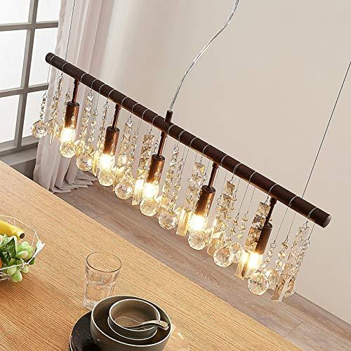 Lámpara colgante 'Matei' (Cristal) en Marrón hecho de Cristal e.o. para Salón & Comedor (5 llamas, E14, A++) de Lindby | lámpara colgante de cristal, lámpara colgante, lámpara, lámpara de cristal