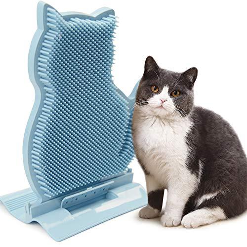 Idepet Katzen Massagebürste, Katzenwandtür Eckmontiertes Massage-Juckreiz Werkzeug, Katzen-Selbstpfleger-Kammbürste Spielzeug mit Katzenminze für kurzes und langes Haar Katze