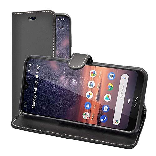 Preisvergleich Produktbild Kompatibel mit Nokia 3.2 Portemonnaie Flip Case Schutzhülle in Schwarz