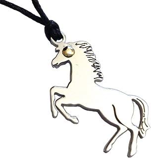 GOGO Ciondolo Cavallo in Acciaio con Punto in Oro e Laccio in Corda