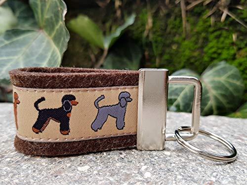 Schlüsselanhänger Taschenbaumler Filz dunkelbraun Webband Pudel Hunde braun grau weiß Geschenk!