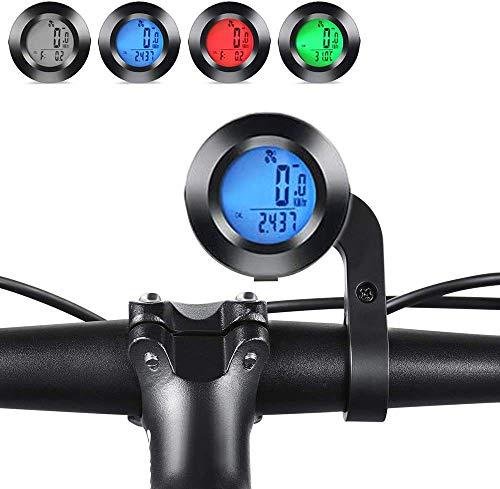 Ewolee サイクルコンピューター 円形 自転車 ワイヤレス サイコン スピードメーター 防水 3つ色バックライト付き 多機能 ストップウォッチ 走行距離計 走行時間計 気温