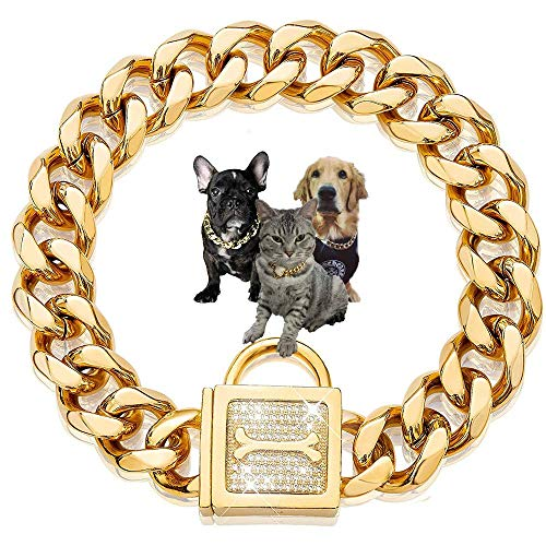 RONGER 19Mm Gold Cuban Link Chain,Titanium Steel Encryption Stainless Steel Choker Collar,Luxury Dog Bling Necklace,22Inch, Water-Proof, Chew-Proof, for Medium & Large Dogs