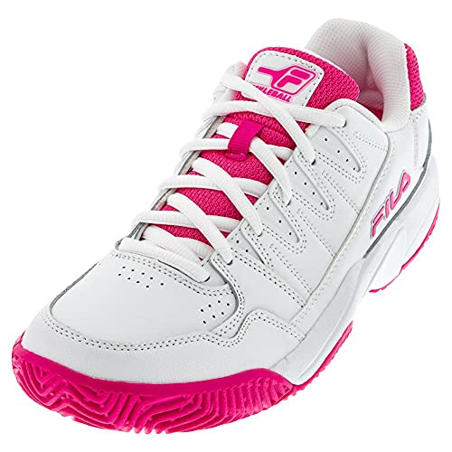 FILA Women's Double Bounce Pickleball Shoe (White/Pink Glo/White, 8.5)