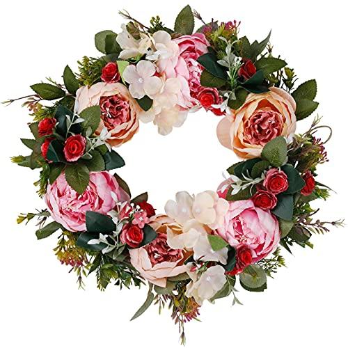 Türkranz Pfingstrosen Kranz Kränze für die Haustür Seidenblumen Vier Jahreszeiten künstliche Blumen für Heimdekoration Hochzeitsfeier Weihnachten Thanksgiving Wandgarten zu hängen