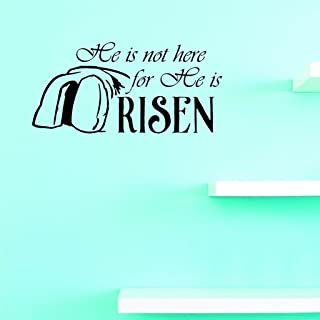 Design with Vinyl US V JER 2610 1 Top Selling Decals He Is Not Here For He Is Risen Wall Art Size: 10 Inches X 20 Inches C...