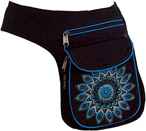 Guru-Shop Stoff Sidebag & Gürteltasche Mandala, Goa Gürteltasche, Bauchtasche - Blau, Herren/Damen, Schwarz, Baumwolle, Size:One Size, Festival- Bauchtasche Hippie