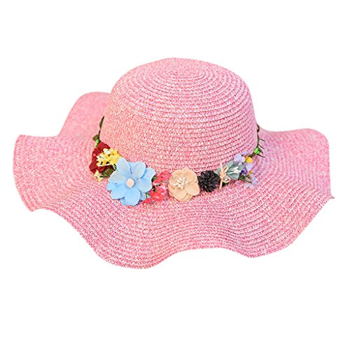 Yvelands Playa Sombrero de Paja Sombrilla de Jazz Panamá Trilby Sombrero Fedora Sombrero Gorro Gorra (Rosa Caliente,Un tamaño)