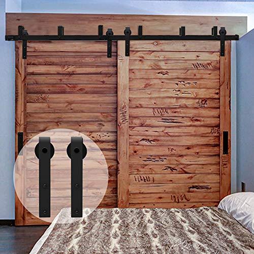 CCJH 274cm(9FT) Kit de guía para puerta corredera Bypass Ferretería Polea de Rail suspendida sistema de puerta interiores en madera granero armario cuarto de, negro