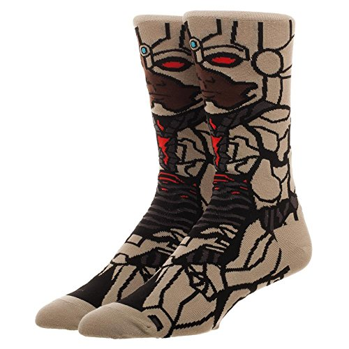 DC Universe Official Justice League Cyborg Character Adult Crew Socks - One Size