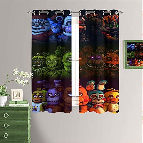 Five Nights at Freddy's - Cortinas con ojales para ventana, diseño de juego de terror con ojales térmicos para oscurecer la habitación, dormitorio y sala de estar, 100 x 163 cm