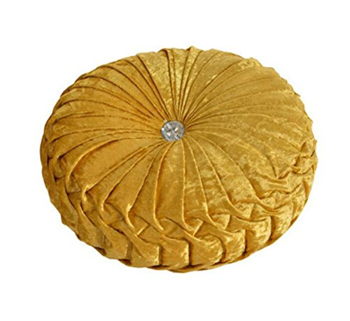 Kentop Cojín redondo de terciopelo, decorativo, plisado con botones, 34 cm de diámetro, color amarillo