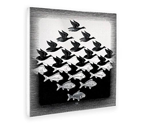 Giallobus - Schilderij - Afdrukken op Canvas - Escher - Lucht en water - 70 X 70 Cm
