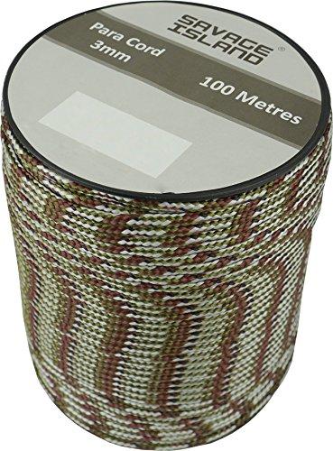 Savage island - Bobina de hilo Para Cord de 3 mm, 100 m, Silver Birch